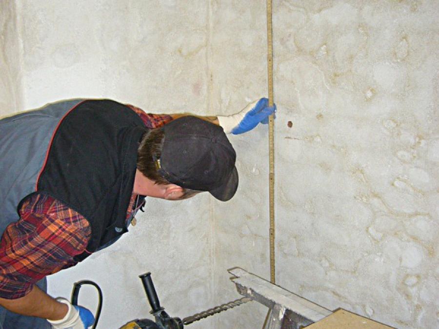 Materialprobe Mauerfeuchte messen